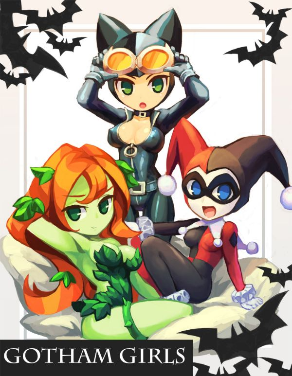 Poison Ivy and Harley Quinn and Catwoman are so darn cute!
