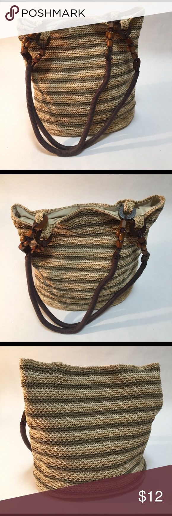 """💋""""KISS it Goodbye"""" Saturday Special 💋 Shoulder Bag by Studio Works - 60% cotton 40% rayon - base measures 10"""" Wx11""""H - wood beaded handle - colors are green, cream and tan! Excellent condition! Studio Works Bags Shoulder Bags"""