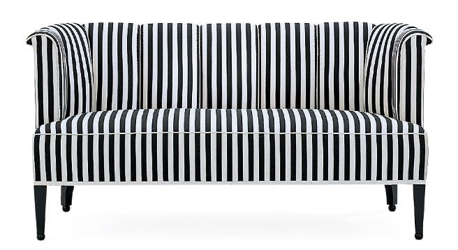 Josef Hoffmann's Alleegasse sofa by WittmannStripes Sofas, Modern Sofa, Leather Sofas, California Home, Black White, Switched Modern, Alleegass Sofas, White Living Room, Sitting Room