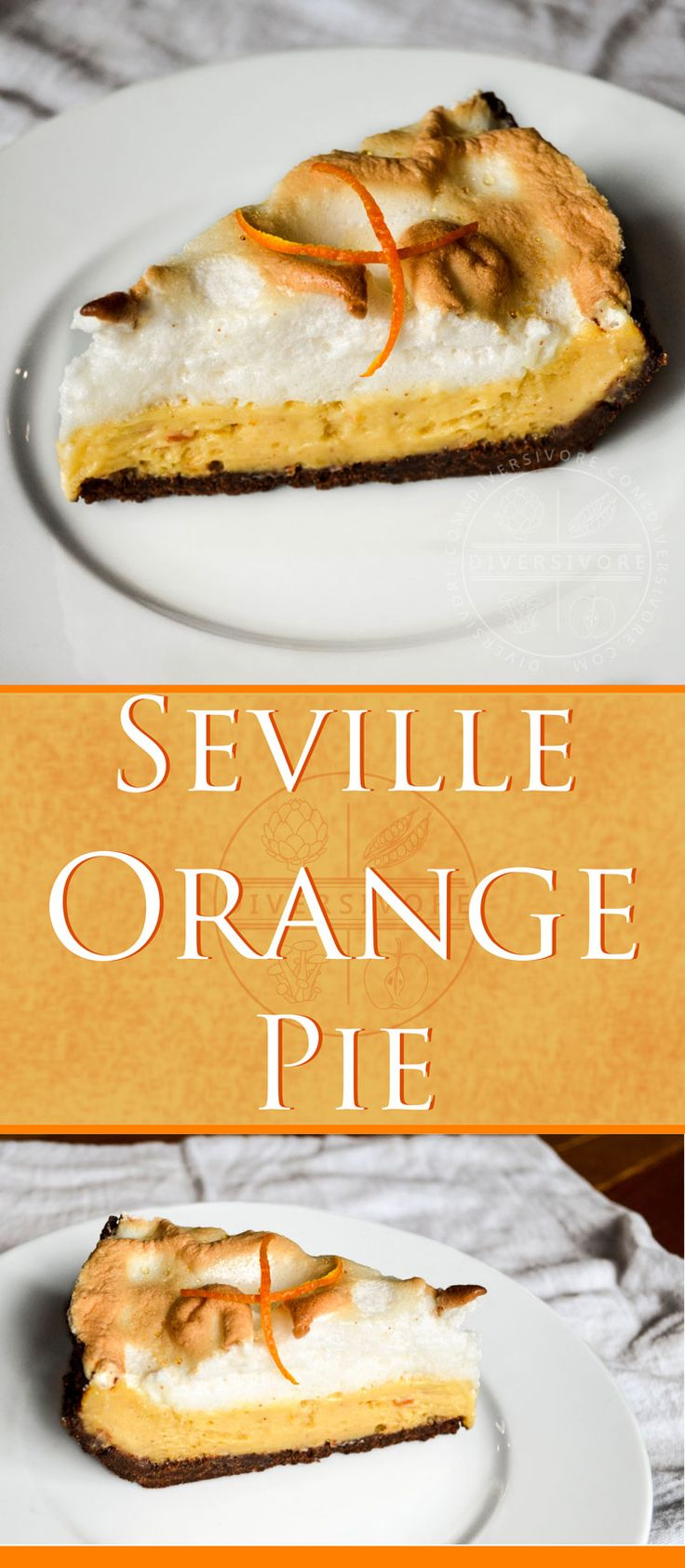 Seville orange (aka sour, bigarade, or marmalade orange) and lemon pie with a meringue and chocolate graham cracker crust.  Seriously delicious dessert decadence, for the true orange afficianado.