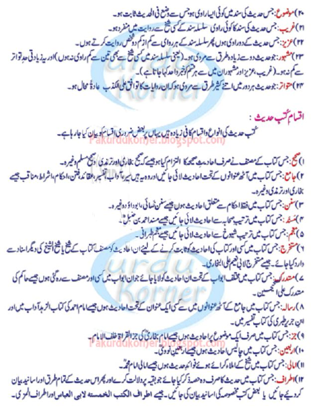 Different Types of Hadith in Urdu | Types of Hadis - Urdu Korner