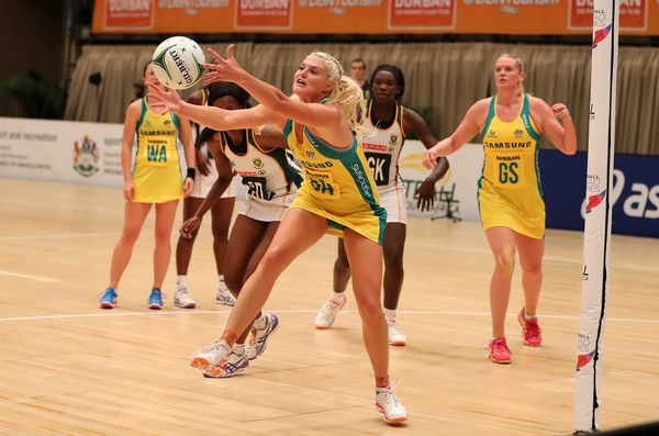 Gretel Tippett keeps the ball in play during the Netball Quad Series match between South African Proteas and Australian Diamonds at Durban ICC on January 31, 2017 in Durban, South Africa.