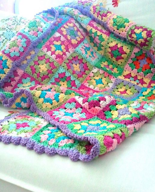 This pastel granny square blanket will be a family keep safe!