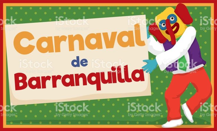 Marimonda Dancing and Holding Sign for Barranquilla's Carnival
