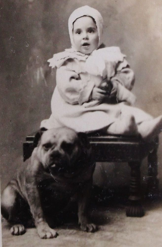 TRIMMED VINTAGE RPPC REAL PHOTO POSTCARD OF A CUTE BABY & AN ADORABLE BULLDOG. Pinned by Judi Crowe.