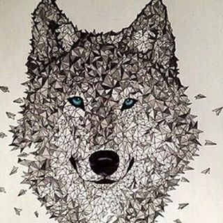 Follow @allforarts for more amazing art works @allforarts  Polygon wolf | Art by  @brandon_cooper  #Destination_Wild