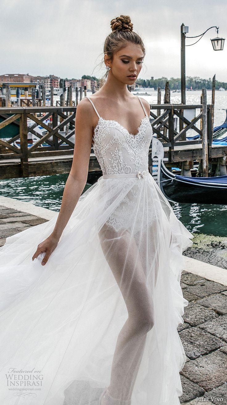 julie vino spring 2018 bridal spagetti strap sweetheart neckline heavily embellished bodice flowy tulle skirt romantic sexy a  line wedding dress open scoop back chapel train (03) zv -- Julie Vino Spring 2018 Wedding Dresses