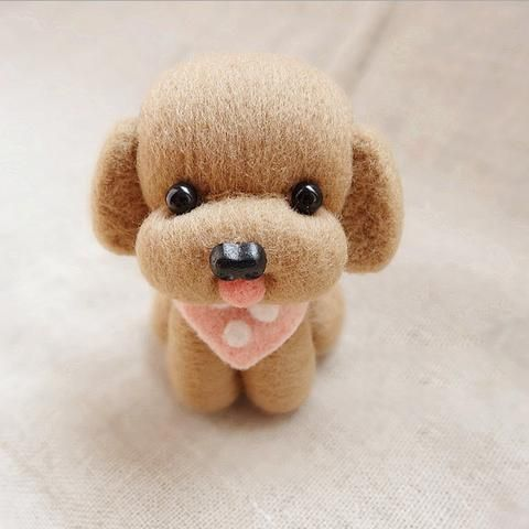 Design: Needle felted Animal CuteDog Puppy Poodle In Stock:7-10 days for processing / Made to order (1-3 days) Include: Only The Needle FeltingDog Color: Brown / Coffee / Gray Material:...
