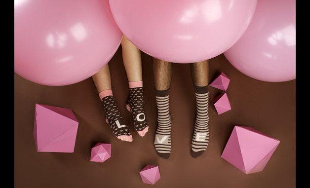 Skarpetki dla Niej i dla Niego – Pink Brown Love - Style-To-Go - Skarpety męskie