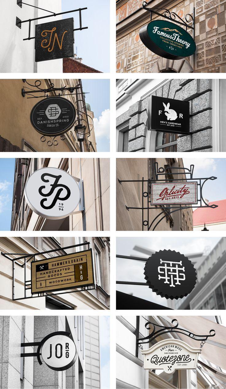 10 MockUp de rótulos vintage y señales identificadoras de establecimientos retro