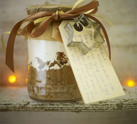 Gingerbread gift jars. Layer a jar with ingredients for delicious ginger biscuits and present as a thoughtful homemade edible gift.