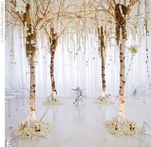 At a raw studio space in New York, the bride wanted to transport her guests to a fantasy land. David built birch trees and willow branches and attached strands of dendrobium orchids for a wintry canopy. He then draped the entire ceremony space in white to...