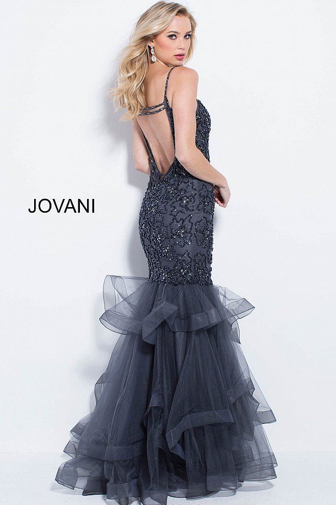 Jovani 2018 Navy Embellished Tiered Bottom Mermaid Prom Dress
