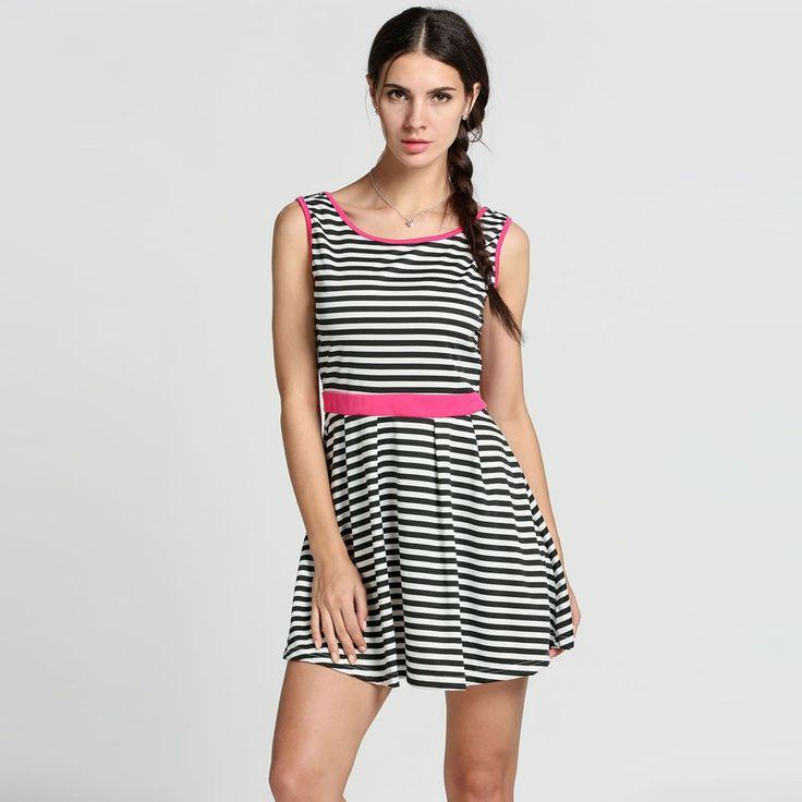 Stylish Lady Women's Fashion Casual Sleeveless Backless High Waist Stripe Mini A-line Dress