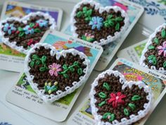 Embroidered crochet gingerbread hearts - pattern for sale