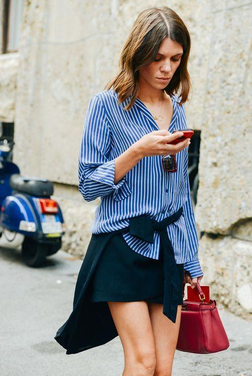 Klasik parça gömlekle trendy stil | Mavi gömlek + Siyah mini etek √ - Tüm markalardan gömlekler: http://brnstr.co/1tylynn  - Tüm markalar siyah mini etekler: http://brnstr.co/1ugILvx   #brandstore #gömlek #etek #siyah #minietek #gününstili #pazartesi #look #ootd