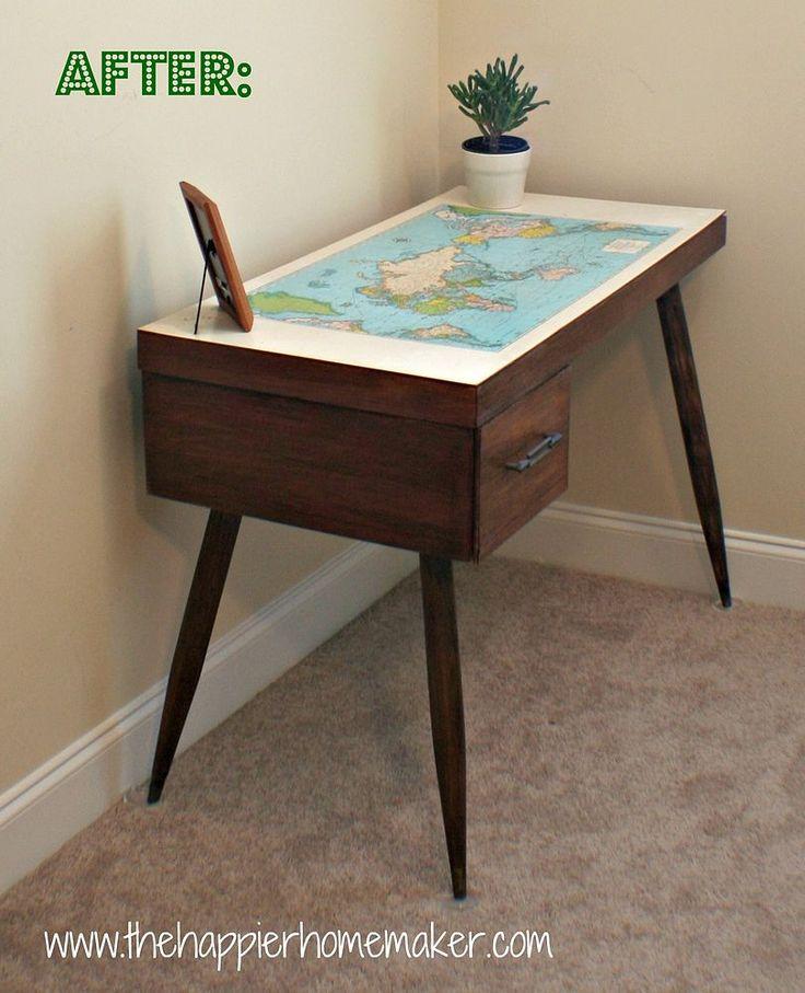Hometalk | Vintage Map Desk