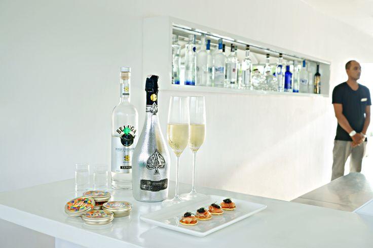 Space Champagne & caviar. Luna2 studiotel, Bali. #Lunafood #champagne #caviar #bar