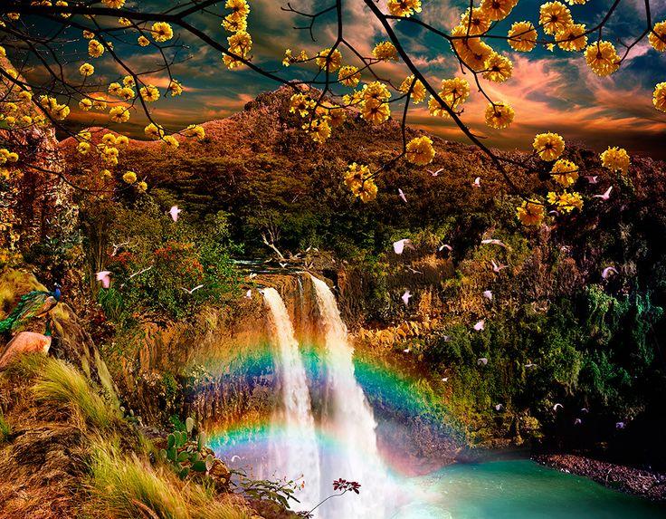 Wailua Falls in the Golden Twilight / Satoshi Matsuyama  #Satoshi Matsuyama #Hawaii #art #Landscape
