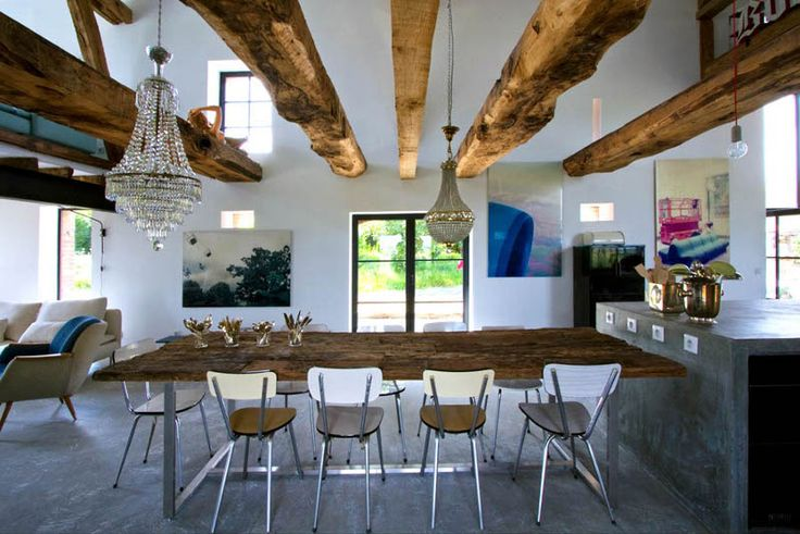 desiretoinspire.net: Modern Rustic, Books Design, Interiors Design, Rustic Decor, Country Home, Barns Conver, Barns Home, Dining Tables, Old Barns