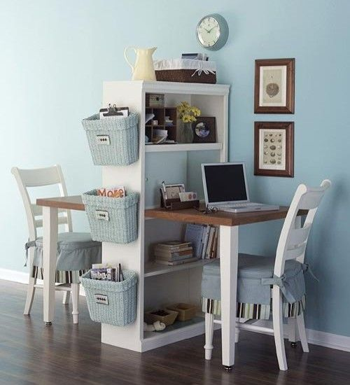 Make the perfect desk for your kids room by attaching baskets and a tabletop to a bookshelf!