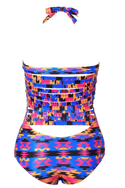 Cupshe Bright Strappy Days Printing Halter Swimsuit