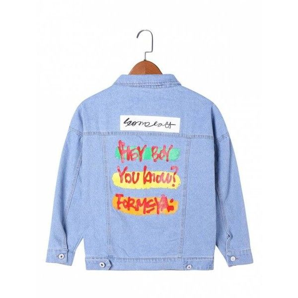 Letter Print Flap Pockets Jean Jacket (€20) ❤ liked on Polyvore featuring outerwear, jackets, blue denim jacket, light blue jacket, blue jean jacket, jean jacket and light blue jean jacket