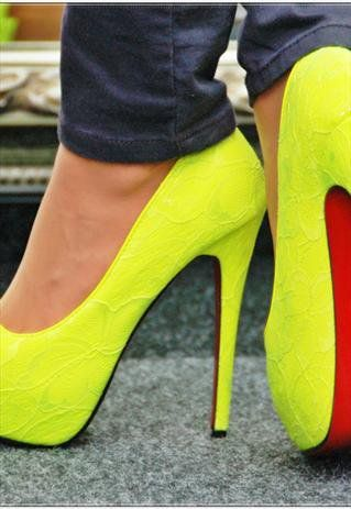 Platform Lace Neon Shoes With High Heel In Yellow from svuk