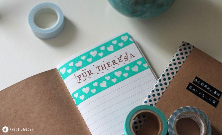 Eine kleine DIY Geschenkidee für die beste Freundin: Notizbücher verschönern und verschenken! Schnell gebastelt und mit Themenvorschlägen