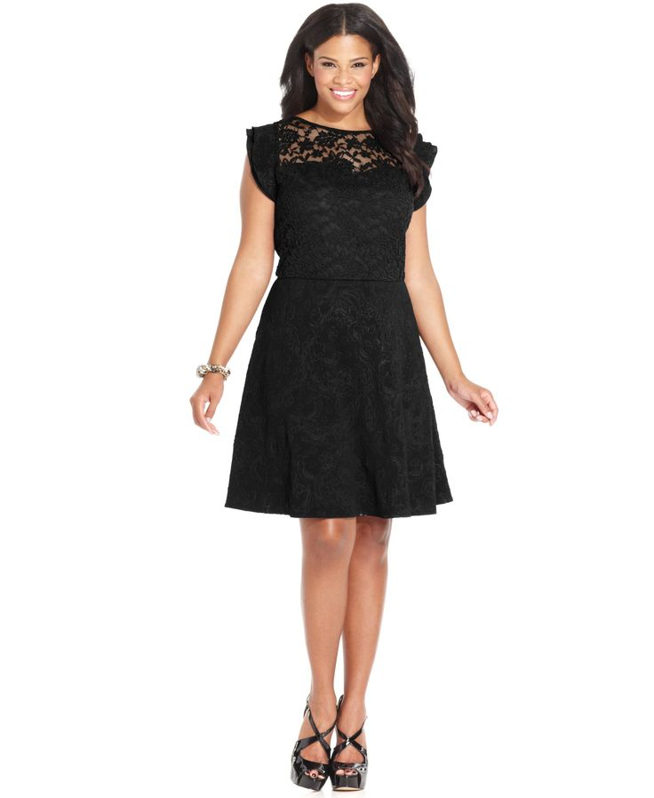 Love Squared Plus Size Ruffled-Sleeve Lace A-Line Dress