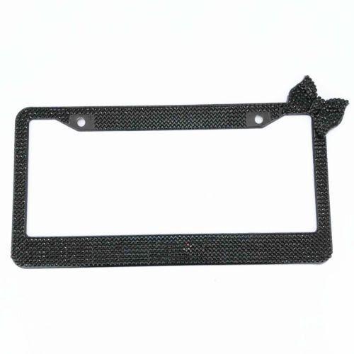 1 Pcs Cool Black Bling Glitter Crystal RhineStone License Plate Frame Car Auto