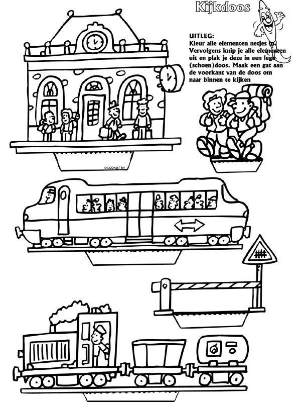 Station treinen - Kijkdoos - Knutselpagina.nl - knutselen, knutselen en nog eens knutselen.