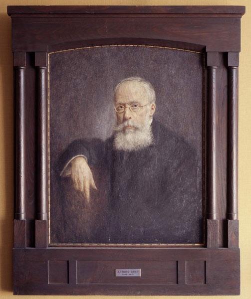 """Il suo vero maestro fu Arturo Graf, professore di Letteratura italiana  nella vicina Facoltà di Lettere e promotore delle cosiddette """"sabatine"""", lezioni tenute al sabato pomeriggio e aperte al pubblico."""