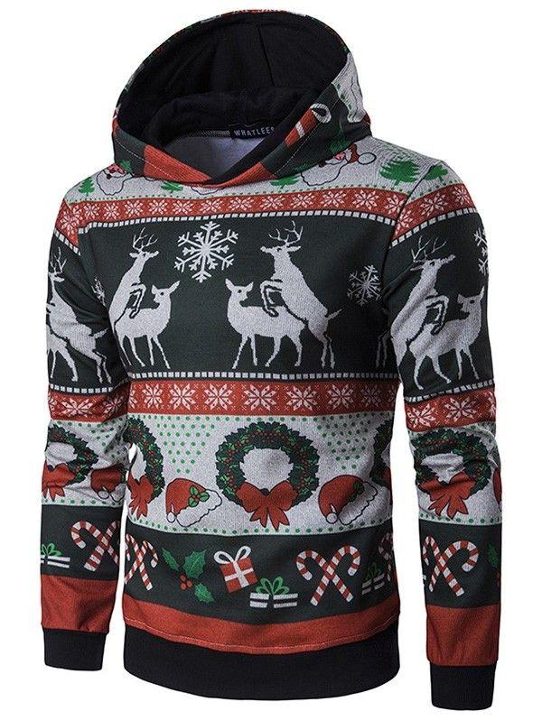 Women Casual Crewneck Sweatshirt Dress Long Sleeve Hoodie Christmas Elk//Stripe Drawstring Hooded Sweatshirt Pullover