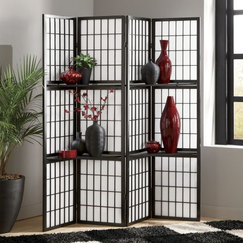 Zen Folding Screen Shelf from Seventh Avenue ® - Love these screens, with shelves is a neat twist!