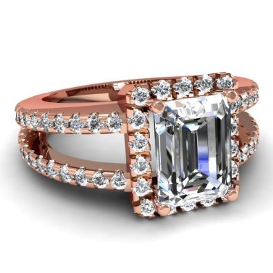 Emerald Cut Diamond Halo Engagement Ring In Pave Setting in Rose Gold