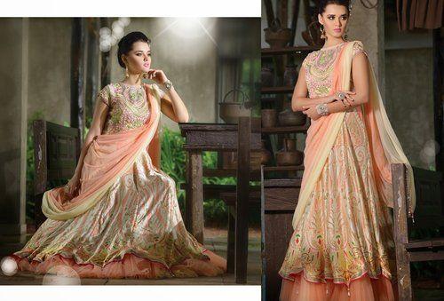 Luscious Cream & Peach Puff Gown #wedding #ethnic #wear #Indian #Fashion #Salwar #Kameez #party #Lehnga #Dresses #women #Latest #Outfits #Bridalwear #Desiwedding #designer #gorgeous #beautiful #shaadi #bride #stylish #bollywood #beauty #net #georgette #embroidery #Gown #Pakistani #Asian #Clothing #indiantrendz