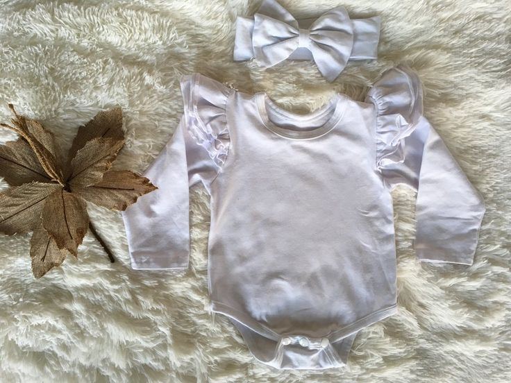 Long sleeve flutter bodysuit   headwrap - White