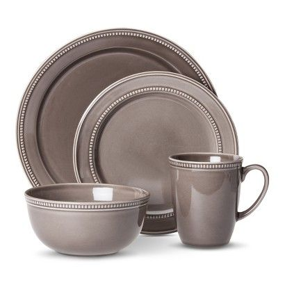 Threshold™ Camden Traditional Round 16 Piece Dinnerware Set – Grey (Also would be cool in off white)