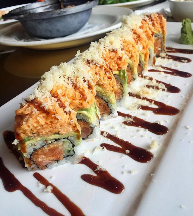 Enjoying one of our favorites, the Volcano Roll!  #sushi #sushiroll #hanami