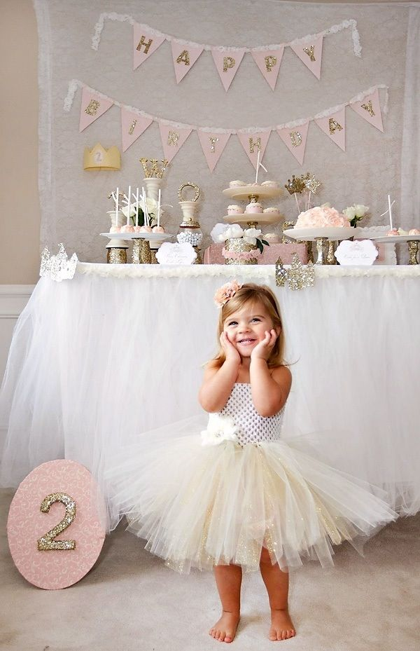 Two year olds birthday. // The tutu. The tulle around the table. The birthday bunting. Love.