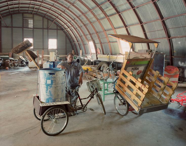 Street sweeping on three wheels: the municipal workshop and the project Utility NOW were a collaboration of an Outreach student, the city of York, and the Coleman Center for the Arts. The city's Public Works Department lacked equipment and transportation necessary for city work crews to complete their duties. Pedal-powered street-sweepers and utility tricycles and bicycles were developed for the city crews.