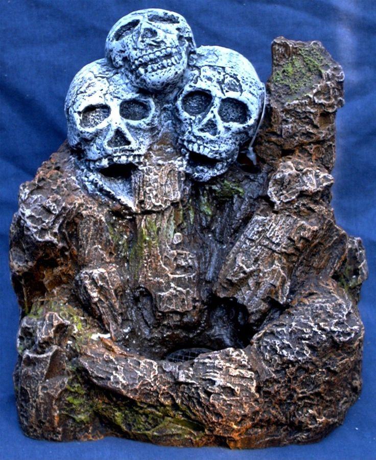 Decorations 66789: Triple Skull Fish Tank Aquarium Sand Fountain Nib BUY IT NOW ONLY: $32.99
