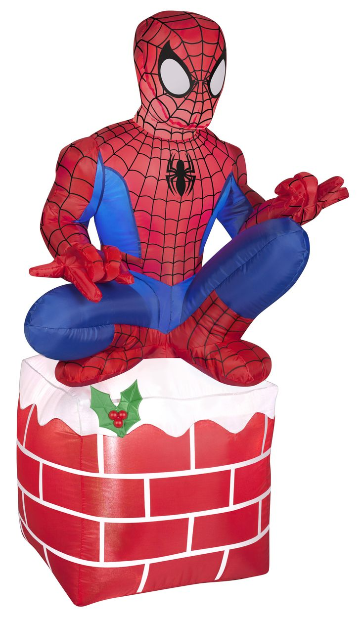 Gemmy inflatable airblown reindeer outdoor christmas decoration lowe - 3 5 Airblown Spider Man On Chimney Marvel Christmas Inflatable