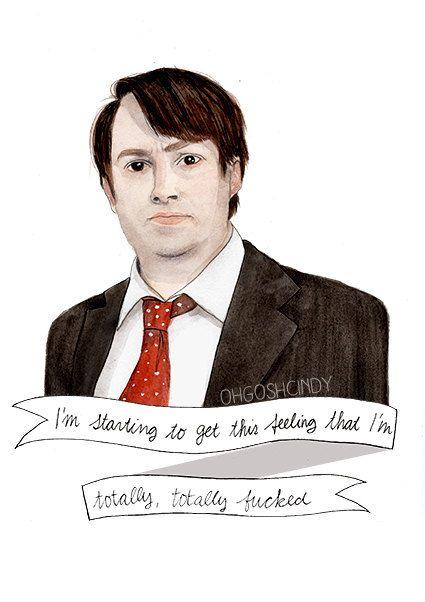 David Mitchell watercolor portrait illustration by ohgoshCindy, £9.00