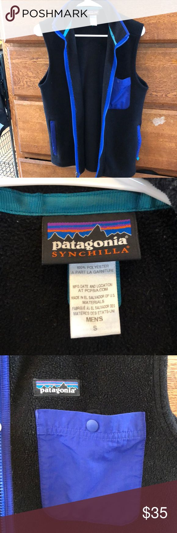 Patagonia Fleece Vest Used black Patagonia Fleece Vest. Retro detailing and colors. Fleece is still very soft but there is some pre-pilling. Patagonia Jackets & Coats Vests