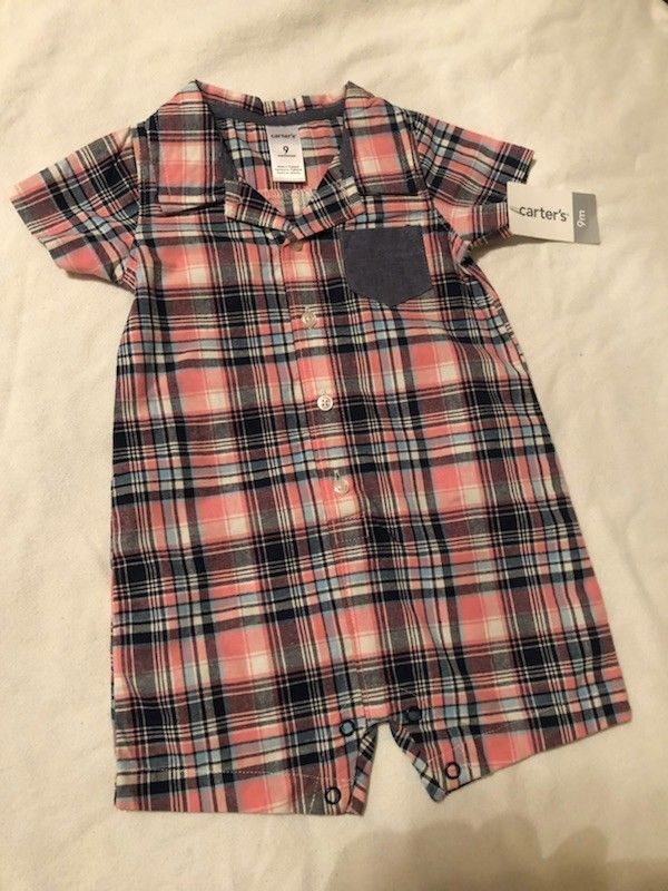 7aba12bde3c Details about NWT CARTER S GIRL 9 MONTHS PINK BLUE PLAID ROMPER ...