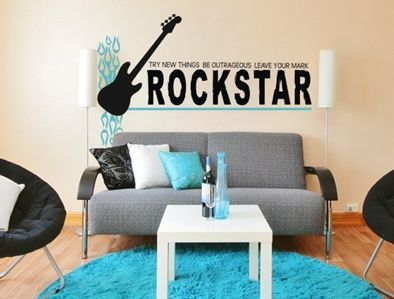 electric blue and black are a rockin combination: Garden Design, Decals, Rock Stars, Room Ideas, Rock Star Leave, Wall Decal, Rocks, Kids Rooms