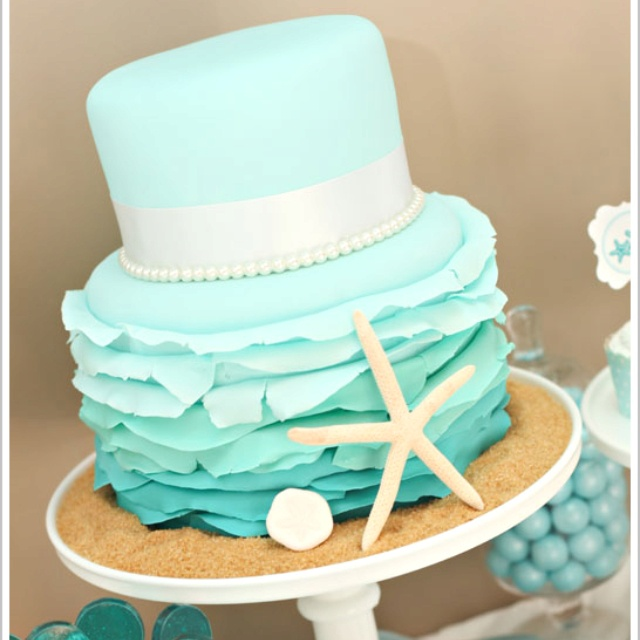 Ombré cake beach theme, luv the sand dollar