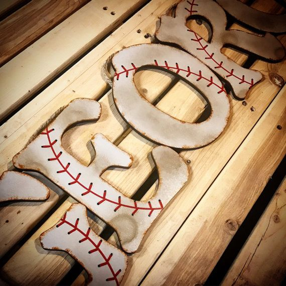 Baseball Decor-Baseball Letters-Baseball by TheCrownedLily on Etsy
